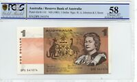 1982 Australia $1 note Johnston/Stone Last Prefix Gem aUnc 58 OPQ PCGS DPS541074