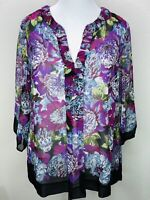 Women's Charter Club Size 16W Purple Black Floral Sheer 3/4 Sleeve Top Blouse