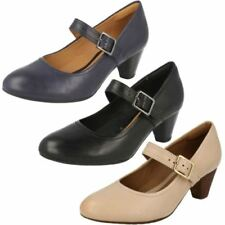 100% Leather Wide (E) Casual Cuban Heels for Women