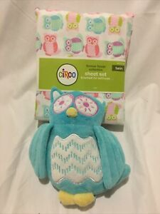 CIRCO FOREVER FOREST OWLS Set Twin Flat, Fitted Sheet, Pillowcase Plush Owl