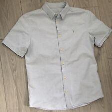 """Mens All Saints Redondo Half Sleeve Shirt Light Blue Medium 20"""""""