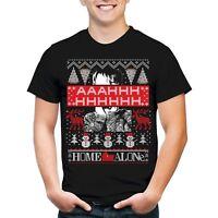 Home alone christmas shirt mens 2XL new black tshirt funny ugly snowman BO