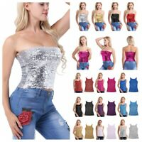 Womens Sparkling Sequins Stretch Tank Crop Tube Top Bra Blouse Party Clubwear