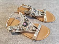 George size 3 (36) gold faux leather buckle strap beaded sequined sandals flats