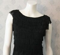 Vintage 1950s to 1960s Black Crepe Fringe Sleeveless Pencil or Wiggle Dress