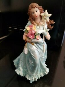 Quinceanera Cake Topper Large Figure Blue Dress with Wand