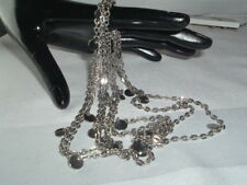 "VINTAGE 58"" SILVER TONE FLAPPER STYLE NECKLACE CHAIN"
