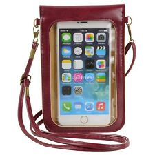 Wine Red Crossbody Shoulder Bag Cellphone Pouch Case for iPhone 6 Plus LG G4 G3
