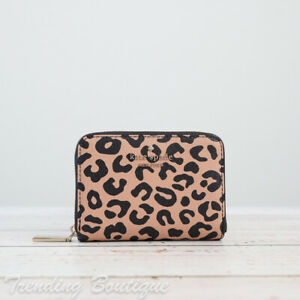 NWT Kate Spade Darcy Graphic Leopard Small Zip Around Card Case Wallet