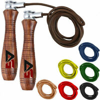 Adjustable Skipping Rope Leather Speed Fitness Exercise Gym Jumping Training