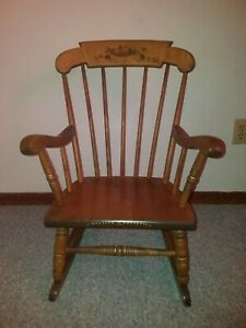 S. Bent & Bros. Colonial Windsor Childs Rocking Chair, Hitchcock Style 1 of 2