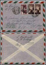REPUBBLICA-Coppia 20 L+50 L Democratica(561+564)-Busta Roma New York 26.11.1949