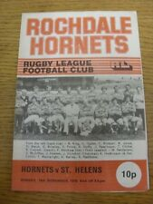 19/11/1978 Rugby League Programme: Rochdale Hornets v St Helens (team changes).