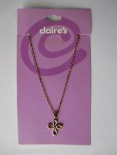 dd Cross pendant charm NECKLACE Claires gold tone chain fashion jewelry