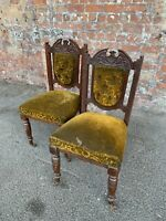 PAIR OF ANTIQUE EDWARDIAN CARVED MAHOGANY DINING / OCCASIONAL CHAIRS FOR PROJECT
