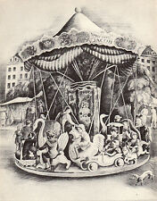"HOWARD COOK 1939 WPA Book Print ""MERRY-GO-ROUND"" Vintage Artwork Figures Sketch"