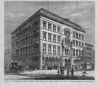 PIKE'S NEW OPERA HOUSE, NEW YORK, ANTIQUE ARCHITECTURE, HORSES CARRIAGE, OPERA