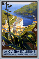 LA RIVIERA ITALIENNE Vintage Italian Travel Poster CANVAS ART PRINT 24x34 in.
