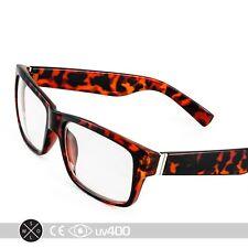 Tortoise Modern Fashion Solid Rectangle Square Frame Clear Lens Eye Glasses S080