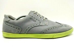 Ecco Gray Green Leather Wingtip Oxfords Sneakers Shoes Men's 44 / 10 - 10.5