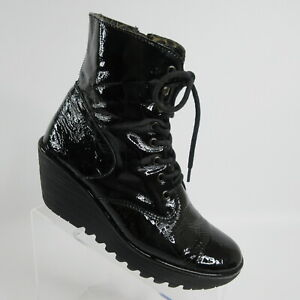 Fly London Ygot Shiny Black Patent Leather Combat Booties Boots Womens Size 10