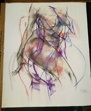 NUDE MODEL ORIGINAL FEMALE FIGURE ART PASTEL DRAWING by PAUL WAGENER ARTIST