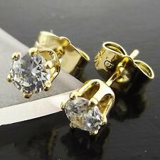 Stud Earrings Genuine Real 18k Yellow G/F Gold Solid Ladies Diamond Simulated