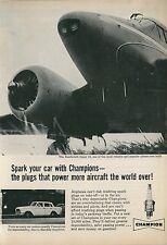 1961 Champion Spark Plugs Ad Beechcraft Super 18 Airplane Aircraft Plane Rambler