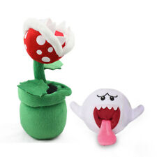 2pcs Super Mario Bros. Boo Ghost & Piranha Plant Plush Doll Stuffed Toy Gift