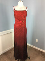 MICHAELANGELO Red Black Ombre Silk Beaded Formal Evening Gown Dress M L EUC