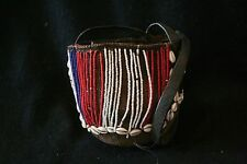 Old East African Twined basket with glass beads and cowry shell decoration