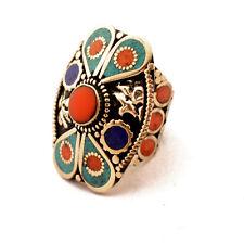 "Turquoise Coral Lapis Ring 8.5"" Tibetan Nepalese Handmade Nepal By Eksha RG51"