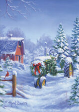Snow Covered John Deere Tractor 18 Boxed Christmas Cards by LPG Greetings