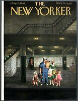 1949 City Family going to Beach on Subway art Aug 13 New Yorker Mag COVER ONLY