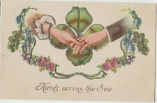 HANDS ACROSS THE SEA Clover Embossed Glitter Vintage Colour PC c1910