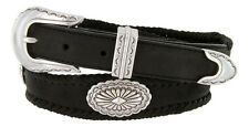 Arizona Southwestern Concho Genuine Leather Western Belt, Black Brown