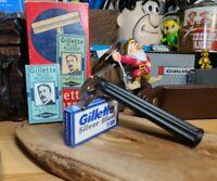 1951 Gillette Tech Bakelite handle Safety Razor W-4 Original box & 2 blades