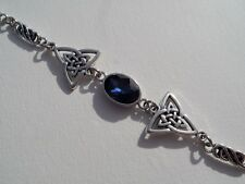 BRACELET DARK SILVER PLATED TRI CELTIC KNOTS & FACETED BLUE GLASS CRYSTAL OVAL
