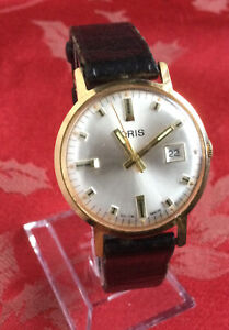Fine Vintage Oris Gold Plate Gents Wrist Watch Good Running Order Leather Strap