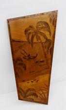 mid century design 50s - Intarsiertes Holz Wandbild Palmen Kanu Motiv ~ 50er