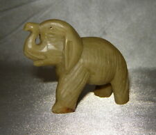 Vintage Small Carved Marble Elephant Figurine w/ Headress, Raised Trunk (China)