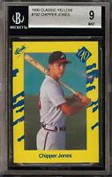 1990 Classic Yellow #T92 HOF Chipper Jones Rookie RC BGS 9 MINT Atlanta Braves
