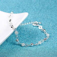 925 Sterling Silver Crystal Ball Chain Bangle Cuff Charms Bracelet Jewelry Gifts
