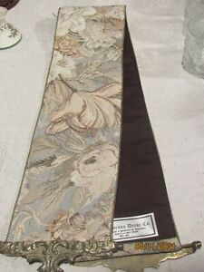 CORONA DECOR COMPANY  FLORAL TAPESTRY TABLE RUNNER BELL RINGERW/ BRASS ENDS