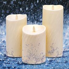 Luminara Dancing Flame Flameless Flickering Pillar Waterproof Ivory Candles 3PCS