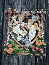 "Cherub angel figurines wall hanging Lot of (2) 7x6"""
