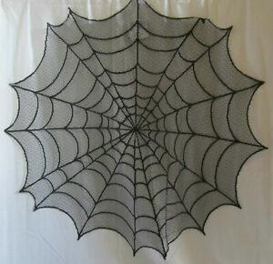 "Yankee Candle Boney Bunch Black Lace Spider Web Doily 30"" Round"