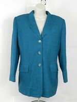 Womens Vintage Emily Blazer Jacket Silk Wool Size 10 Blue Black Houndstooth