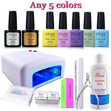 Gel Nail Polish Top Base Coat 36W UV Lamp Wipes Pads Cleanser Pick 5 Colors HNM