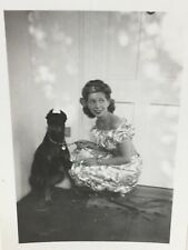 Vintage Snapshot Photograph Doberman Pinscher Dog & Woman